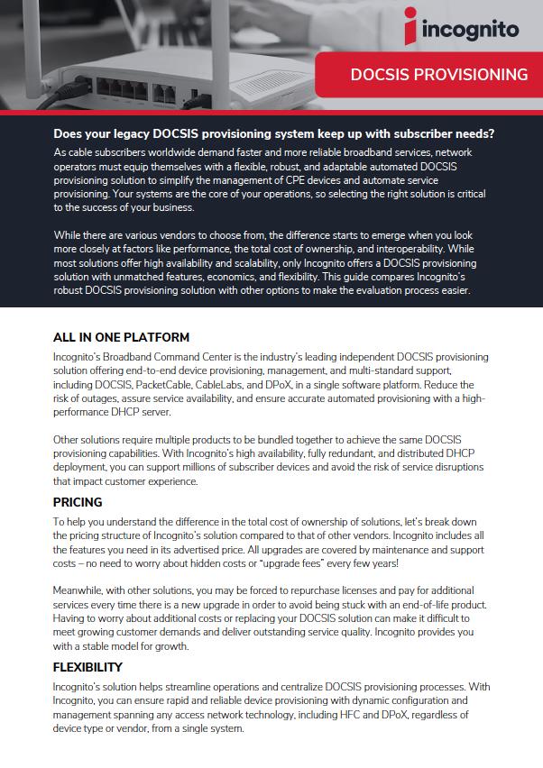 DOCSIS Fact Sheet Cover